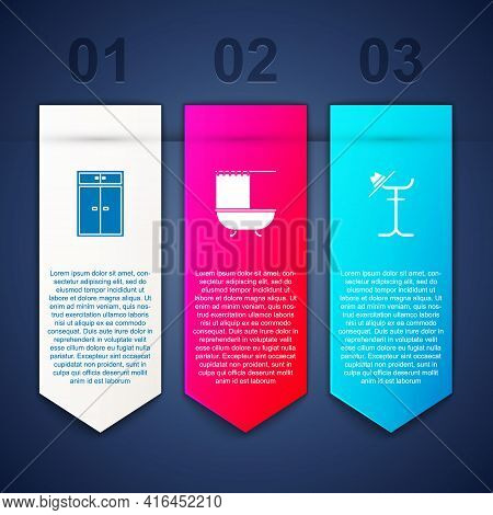 Set Wardrobe, Bathtub With Shower Curtain And Coat Stand. Business Infographic Template. Vector