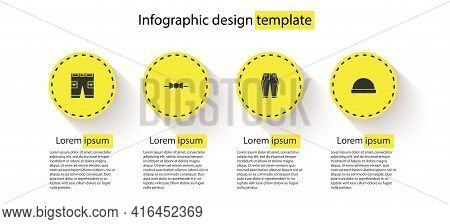 Set Short Or Pants, Bow Tie, Pants And Beanie Hat. Business Infographic Template. Vector