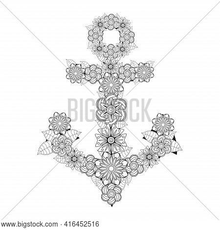 Hand Drawn Illustration Of Romantic Sea Anchor Entwined With Rose Flowers, Anchor, Zentangle, Flower