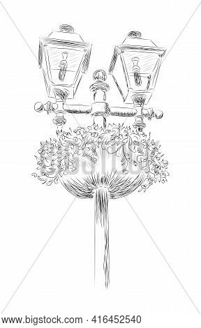 Street Lamppost, Hand-drawn, Black And White Drawing With Flowers