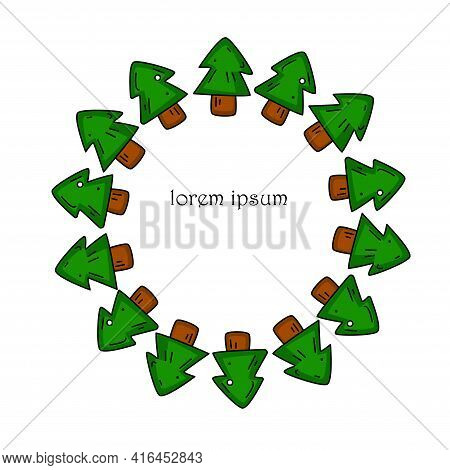 Colored Circle Frame With Cartoon Green Spruces. Great Element For Your Design.