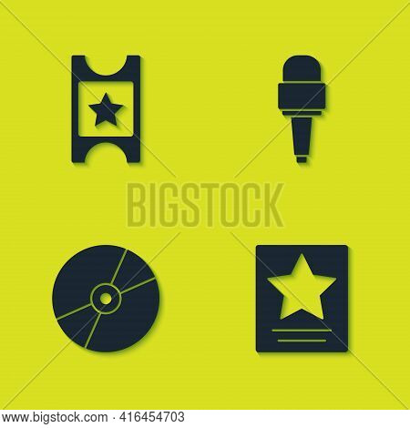 Set Cinema Ticket, Hollywood Walk Of Fame Star, Cd Or Dvd Disk And Microphone Icon. Vector