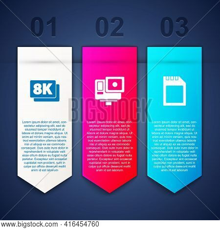 Set 8k Ultra Hd, Action Extreme Camera And Sd Card. Business Infographic Template. Vector