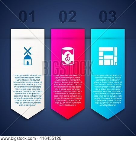Set Windmill, Olives Can And House Edificio Mirador. Business Infographic Template. Vector