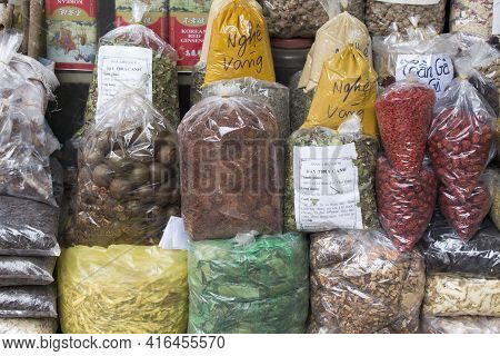 Hanoi, Vietnam - January 06, 2017: Spices At Market In Hanoi