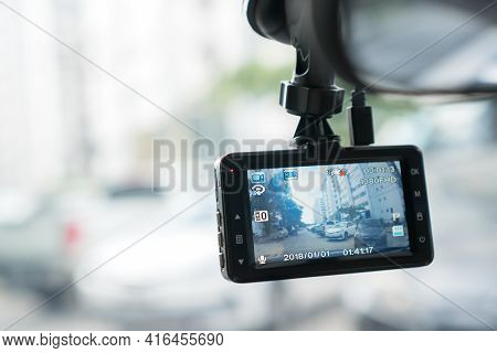 Chonburi, Thailand-august 9 2020: Rear View System Monitor Navigation Reverse Video Camera In Car, C