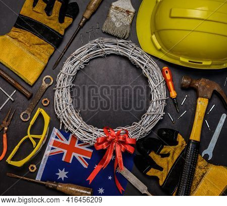 Australia Public Holiday. Labour Day Background And Federal Holiday. Engineer And Worker Tools With