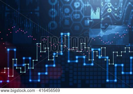 Stock Market Changes, Blurred Business Candlesticks Graph Chart. Network Symbols With Data Service.