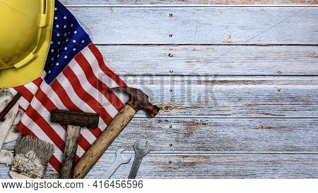 Labor Day Background And Federal Holiday. Independence And Memorial Day In America And Usa. Engineer