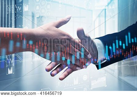 Business People Shake Hands, Double Exposure Of Office Interior And Falling Candlesticks, Data Infor