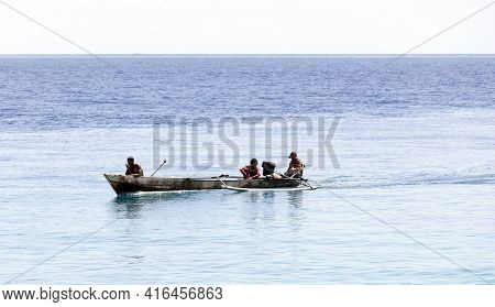 Togian Islands, Indonesia - August 21, 2018: View Of Fishing Boat With Fisherman