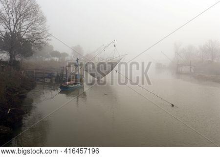 Comacchio, Italy - December 29, 2019: Fishing House In Comacchio, Italy