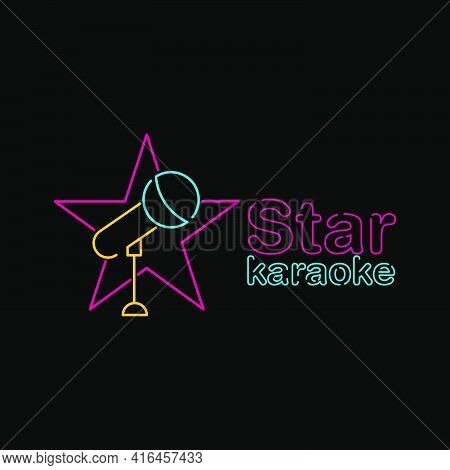Star Karaoke Logo Vector Template With Neon Style