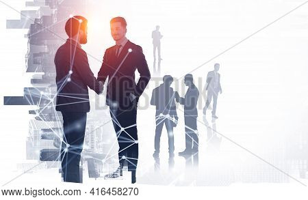 Office People Shaking Hands, Silhouettes Of Diverse Business People Working Together, Circuit Of Net