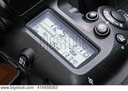 Krakow, Poland - April 09, 2021: Close-up Of Top Lcd Screen In Nikon D7500 Dslr Camera. Nikon Is A F
