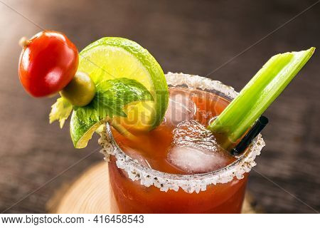 Canadian Caesar Drink. Made With Vodka, Hot Sauce And Worcestershire Sauce, Served With Ice In A Cel