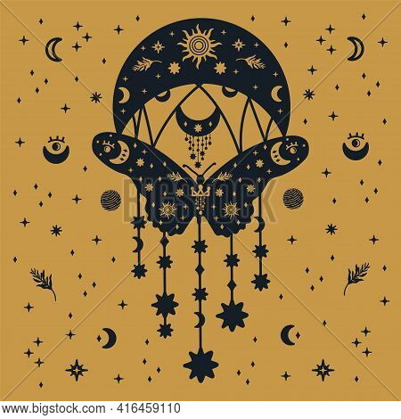 Postcard Moths. Postcard Of A Moth On A Gold Background With The Moon And Stars. The Scrawl Depicted
