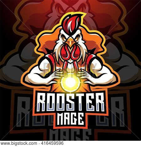 Rooster Mage Esport Mascot Logo Design With Text