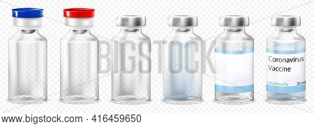 A Set Of Glass Medical Ampoules Or Vials With A Vaccine Or Medicine For Treatment. Bottles Or Transp