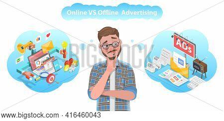 3d Vector Conceptual Illustration Of Online Vs Offline Advertising.