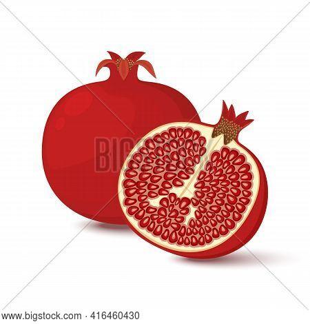 Vector Pomegranate, Garnet. Whole And Half Pomegranate Icon Set. Flat Cartoon Vector Illustration.