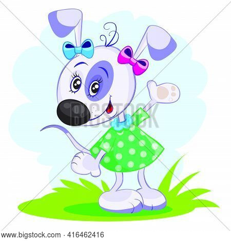 Dog Character In Green Dress And With Bows, Vector Illustration, Cartoon Illustration, Eps