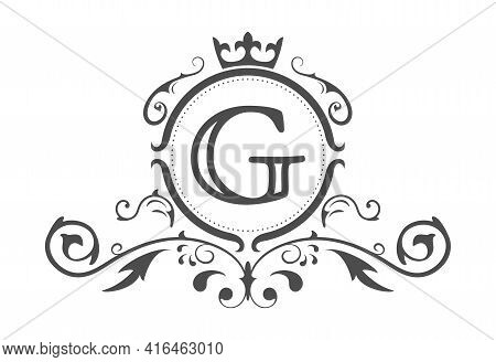 Stylized Letter G Of The Latin Alphabet. Monogram Template With Ornament And Crown For Design Of Ial