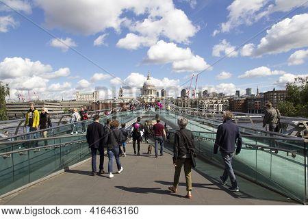 London, Uk - May 20, 2017. St Pauls Looking From The Millennium Bridge, London. London, England, Uk,