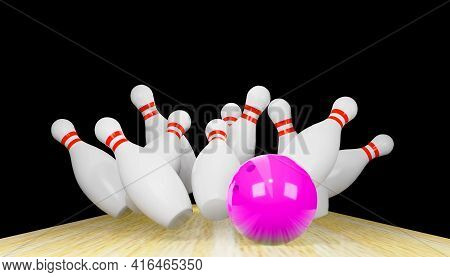 3d Render Of A Bowling Strike With Skittles And A Ball.digital Image Illustration.