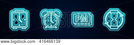 Set Line Alarm Clock, , Clock Pm And Old Hourglass. Glowing Neon Icon. Vector