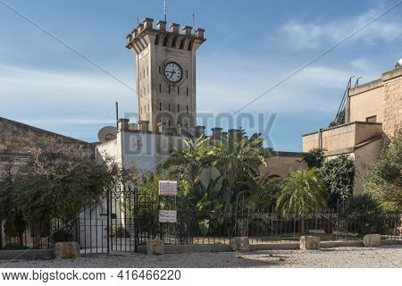 Mount Tabor. Israel. January 27, 2020: Fragment Of The Franciscan Garden With The Bust Of Pope Paul