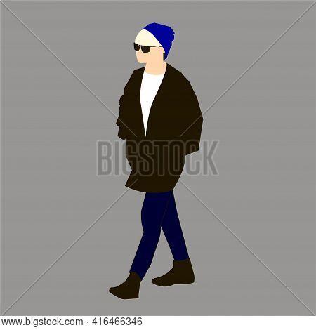 Vector Illustration Of Kpop Street Fashion. Street Idols Of Koreans. Kpop Male Idol Fashion.