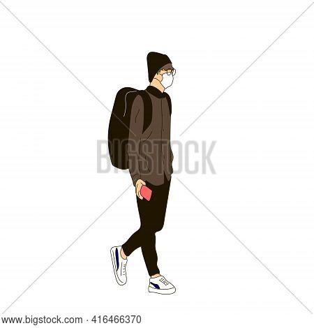 Vector Illustration Of Kpop Street Fashion. Street Idols Of Koreans. Kpop Male Idol Fashion. A Guy I
