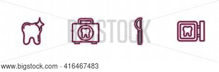 Set Line Tooth Whitening, Dental Floss, First Aid Kit And Clinic Location Icon. Vector