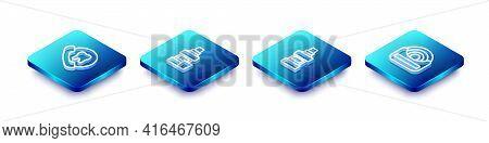 Set Isometric Line Online Dental Care, Mouthwash Bottle, And Dental Floss Icon. Vector
