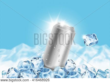 Aluminum Tin Can With Ice Cubes On Blue Background. Blank Metallic Can Drink Beer Soda Water Juice P