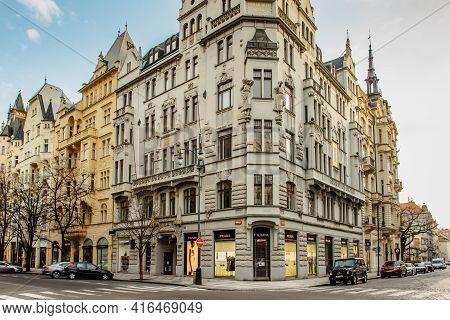 Prague, Czech Republic - March 26, 2021. Empty Parizska Street,prague Most Prestigious Boulevard, Ho