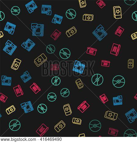 Set Line Play Video, Cd Or Dvd Disk, Cinema Ticket And Laptop With 8k On Seamless Pattern. Vector