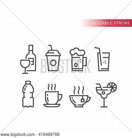 Cup And Glass For Cocktail, Coffee And Beer Icon Set. Wine Bottle, Glasses, Water Bottle Line Vector