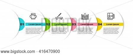 Set Line Cup Of Tea And Leaf, Scented Spa Stick, Taj Mahal And With Bag. Business Infographic Templa