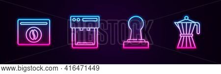 Set Line Bag Of Coffee Beans, Coffee Machine, Tamper And Moca Pot. Glowing Neon Icon. Vector
