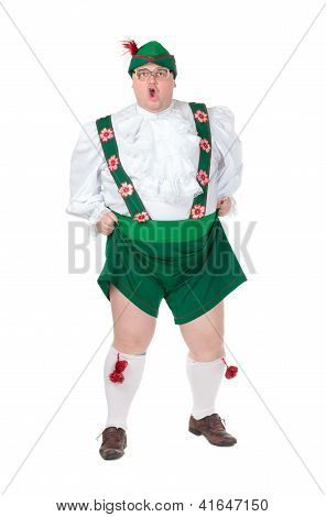 Funny Fat Man Wearing German Bavarian Clothes