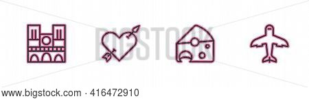Set Line Notre Dame, Cheese, Amour With Heart And Arrow And Plane Icon. Vector