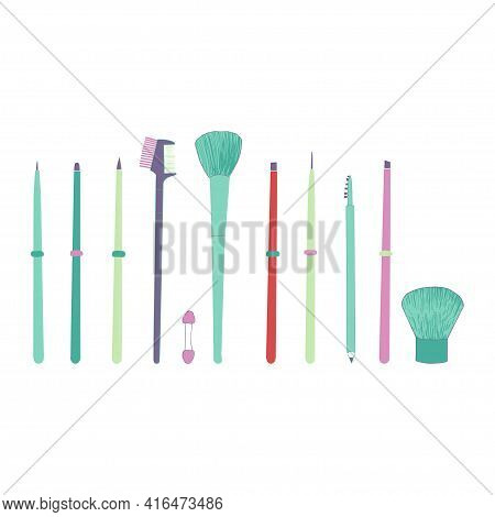 Makeup Brush Set Isolated On White Background. Makeup Collection. Vector.