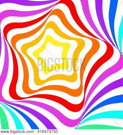 Abstract Vector Geometric Design With Multicolored Stars On A White Background