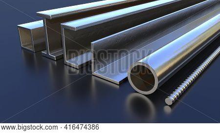Different Metal Profile On The Floor, Industrial 3d Rendering