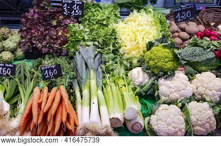 La Boqueria Market With Vegetables And Fruits In Barcelona, Spain. La Boqueria Market, Europes Large
