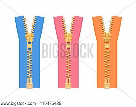 A Set Of Metal Zippers For Clothes Of Different Colors. Blue, Pink, Orange On A White Background. Wo