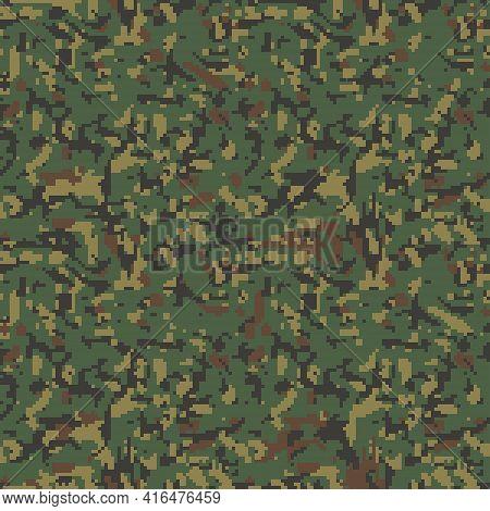 Digital Camouflage Pattern. Seamless Green Khaki Background Camo Print  Classic Military Clothing St