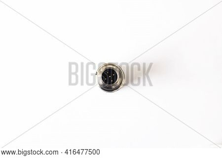 Ultrasonic Distance Sensor On White Background Close Up